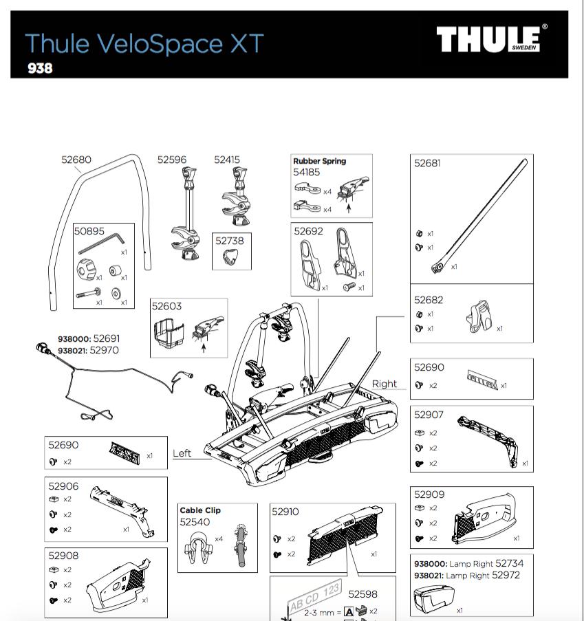 VeloSpace onderdelenlijst