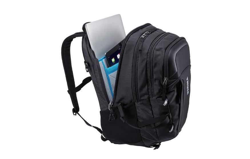 Thule EnRoute 27l zwart zijkant open met laptop
